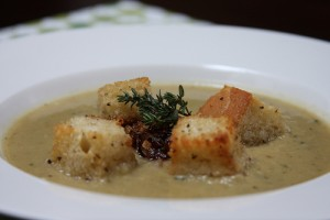 Roasted Garlic Soup with Carmelized Shallots and Sage Croutons