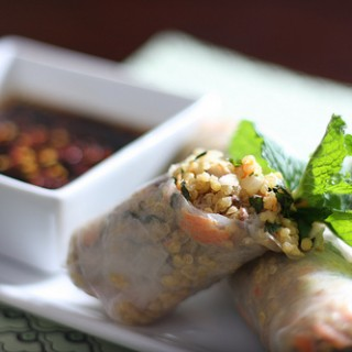 Minted Quinoa Spring Rolls with Toasted Cashews and Tahini