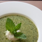 Minted Pea Soup with Cashew Cream and Basil Oil