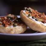 Homemade Bagels with Tofutti, Capers and Caramelized Shallots