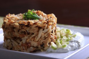 Celery Root Hashbrowns with Basil Cream