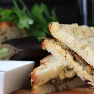 Roasted Eggplant and Hummus Sandwich