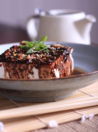 Steamed Tofu with Spicy Black Bean Sauce