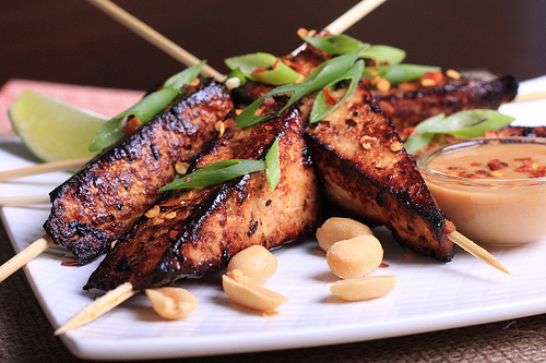 Tofu satay with a decadent peanut sauce from the Spork-Fed cookbook