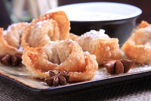 Spiced Taro Root Wontons with Salted Coconut Cream