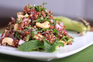 Minted Red Quinoa, Fava Bean and Cashew Salad
