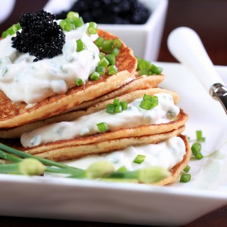 Savory Corn Pancakes with IKEA Vegan Caviar