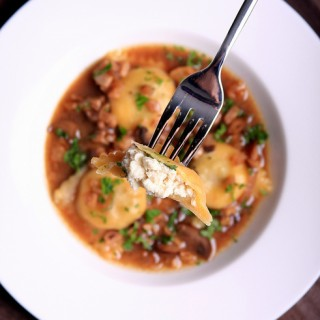 Cheese-Stuffed Homemade Ravioli with White Wine Sauce