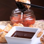 Peanut Butter and Sambal Wontons with Chocolate Sauce