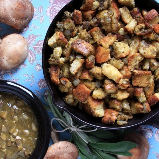 Sage Stuffing and Shiitake-Shallot Gravy