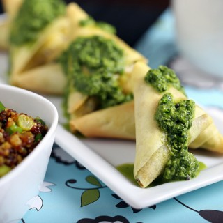 Curried Quinoa Triangles with Cilantro-Ginger Sauce