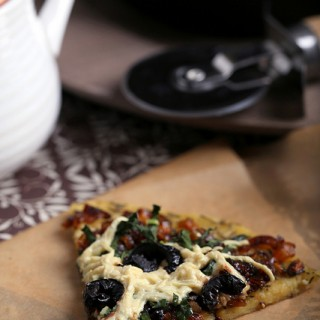 Socca Pizza Crust with Caramelized Shallots and Kale