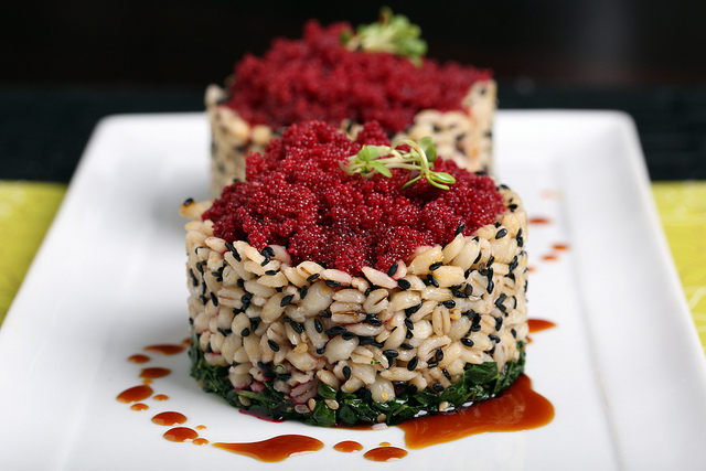 Kale, Pearled Barley and Faux Roe Stack with Sweet Soy Glaze
