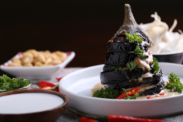 Indonesian Eggplant with Peanut Sauce, from Nut Butter Universe