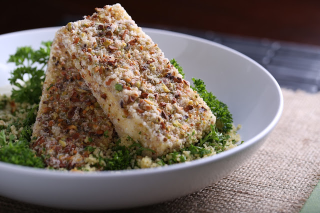 Pistachio-Crusted Tofu with Horseradish Cream