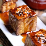 Glazed Tofu with Fiery Sriracha Pearls