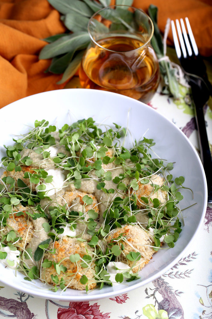 Baked Pumpkin Ravioli with Rubbed Sage Cream