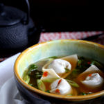 Oyster Mushroom Wonton Soup with Wilted Kale
