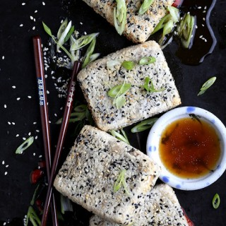 Sesame Crusted Fu with Soy-Agave Sauce