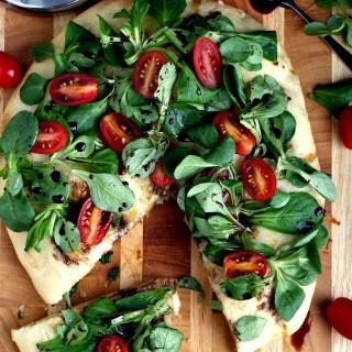 Focaccia Topped with Mâche and Fresh Tomatoes