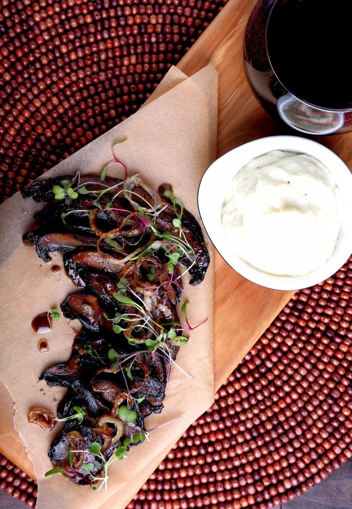 Miso-Scented Portobello with Garlic Cauliflower Mash