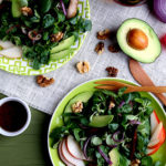 WALNUT, AVOCADO & PEAR SALAD WITH MARINATED PORTOBELLO CAPS & RED ONION