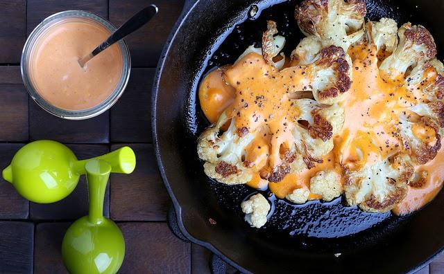 Sesame-Roasted Cauliflower with Sriracha-Vegenaise Dressing