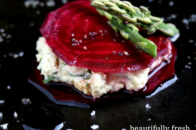 Beetroot Ravioli with Cashew Cream Cheese