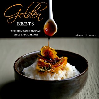 Salt-Roasted Golden Beets with Teriyaki Sauce and Nori Dust