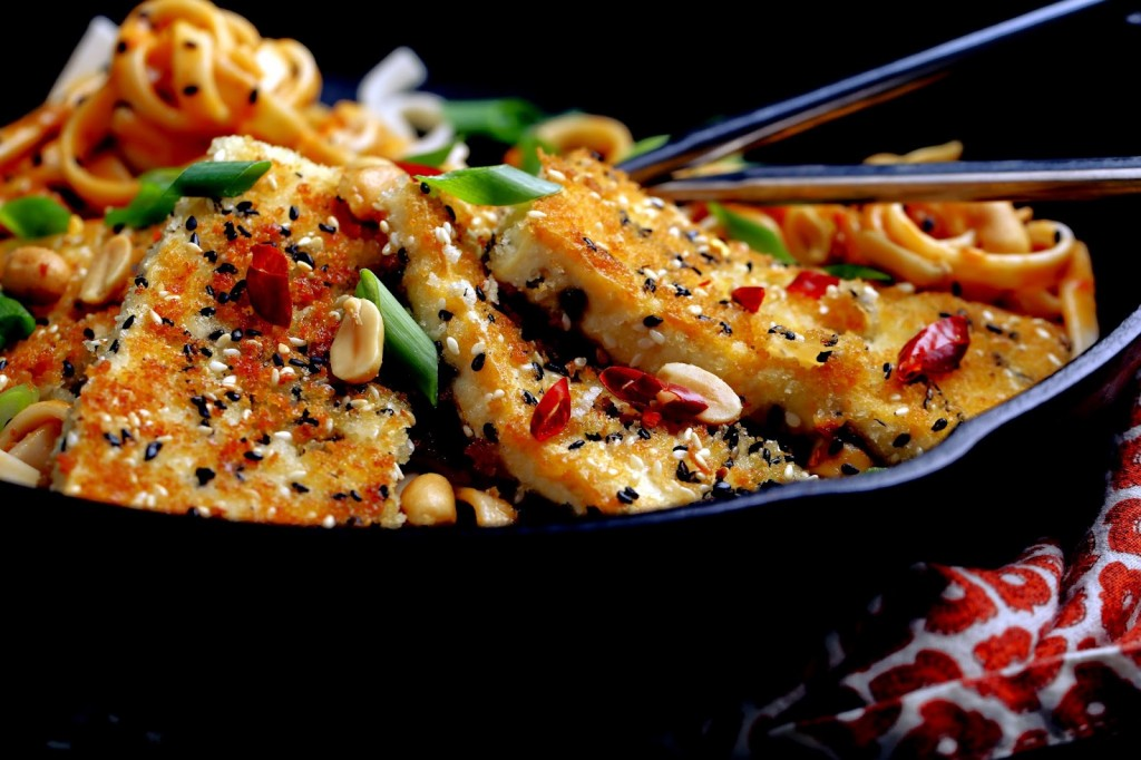 Fire Noodles with Crispy Tofu