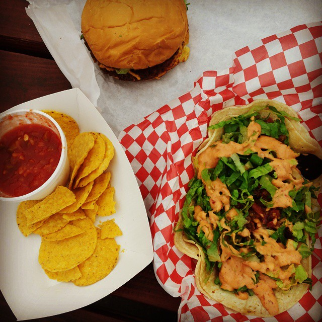 Bac'n Cheezeburger and Street Tacos from Arlo's Food Truck