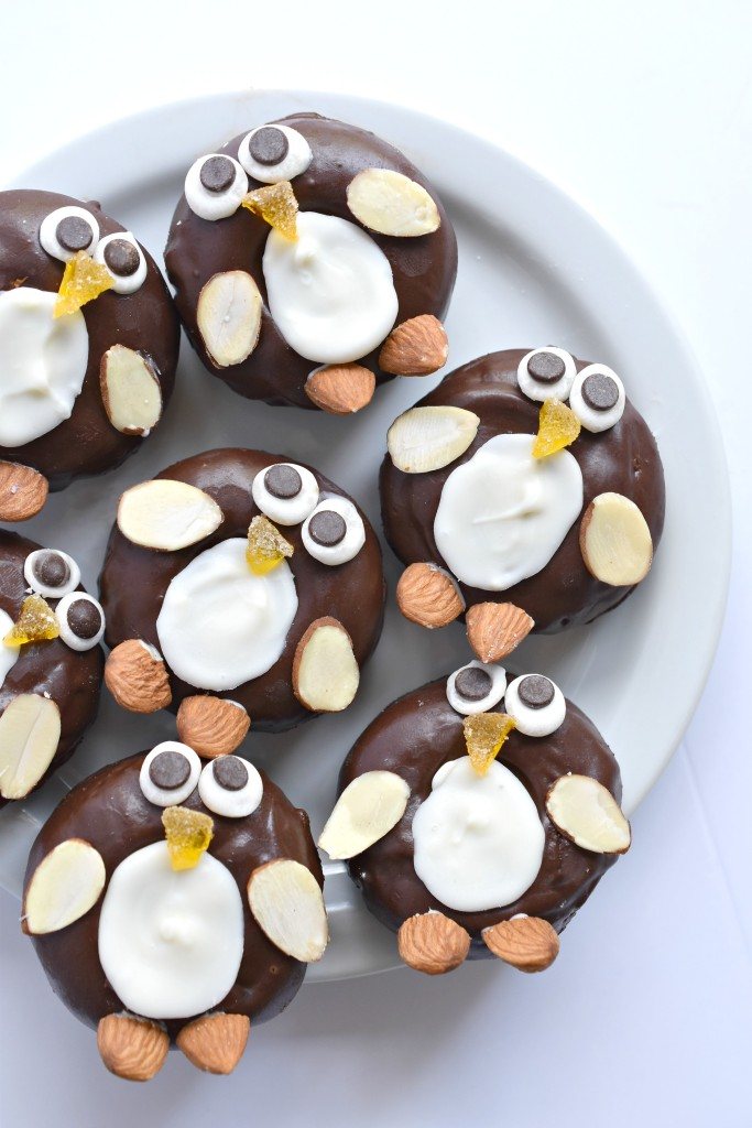 Penguin chocolate-frosted mini donuts