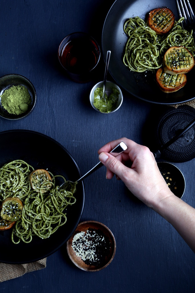 Pasta with Seaweed-Matcha Butter and Vegan Scallops