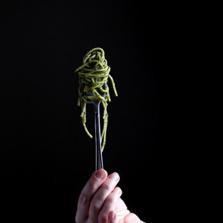 Seaweed pasta twisted on a fork
