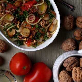 Spaghetti with Vegan Scallops, Toasted Walnuts and Plum Tomatoes