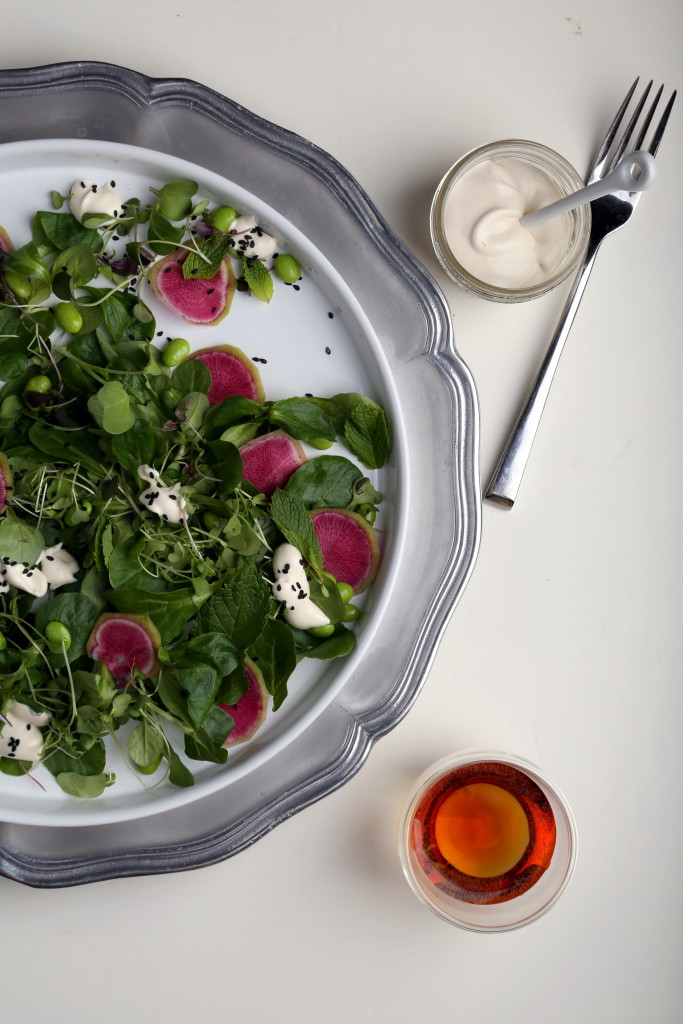 Mâche and Mint Salad with Buttermilk Ponzu Dressing