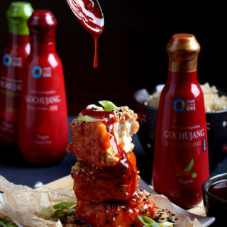 Double-Dredged Tofu with Gochujang Glaze + A Giveaway from Chung Jung One!