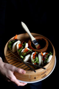 Pressed Maitake Buns with Gochujang-Hoisin Glaze
