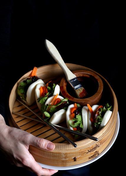 Pressed Maitake Buns with Gochujang-Hoisin Glaze