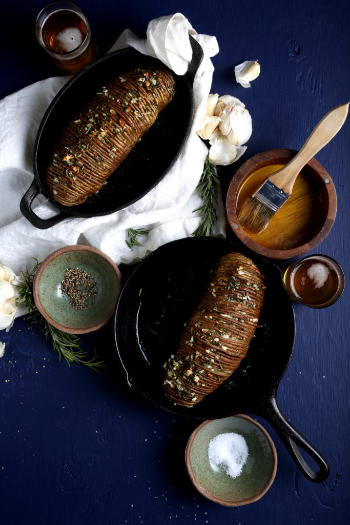 Homestyle Vegan | Rosemary Garlic Hasselback Potatoes
