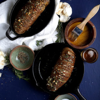 Rosemary Garlic Hasselback Potatoes | Homestyle Vegan