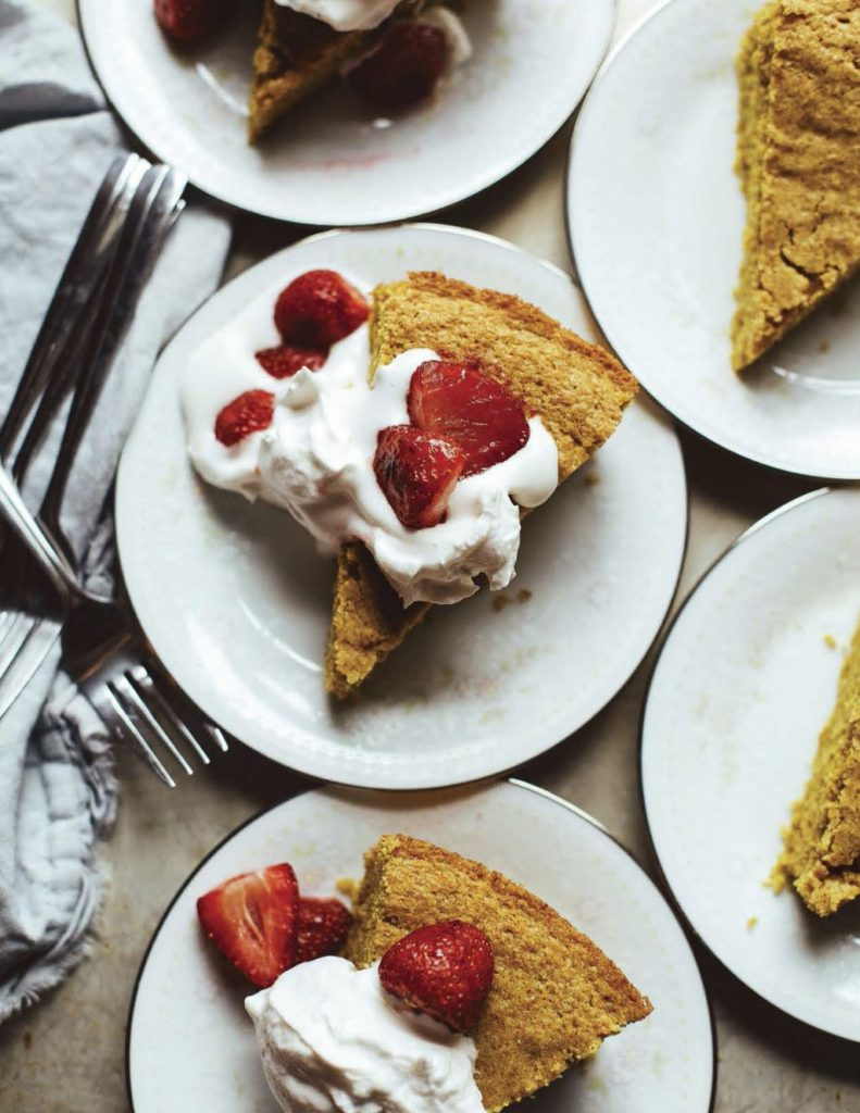 Vanilla Corn Cake with Roasted Strawberries