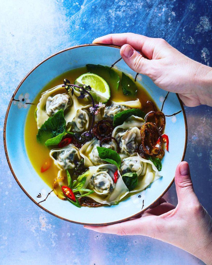 Maitake-Oyster Mushroom Wontons
