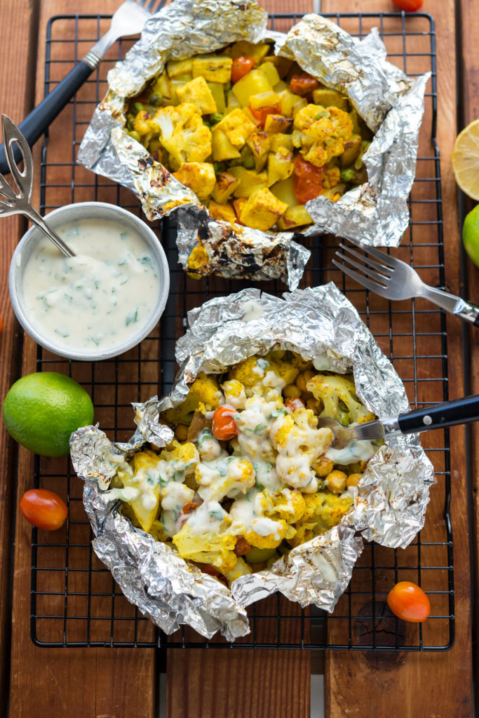 Curry Cauliflower Grill Packets - Vegan Yack Attack