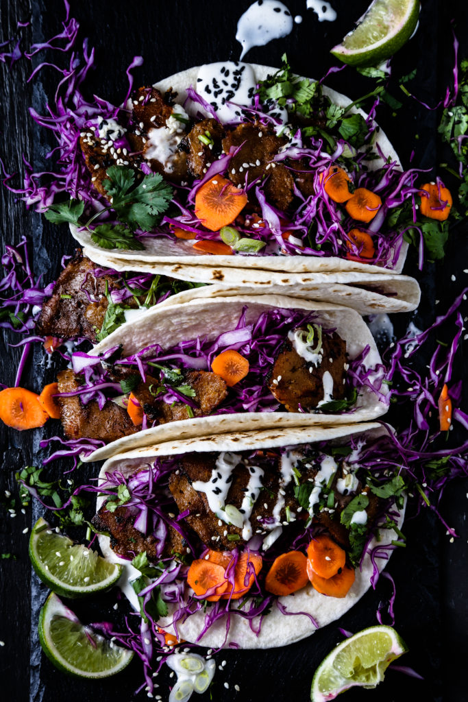 Korean-Style Tacos made with Sweet Earth Brand Traditional Seitan