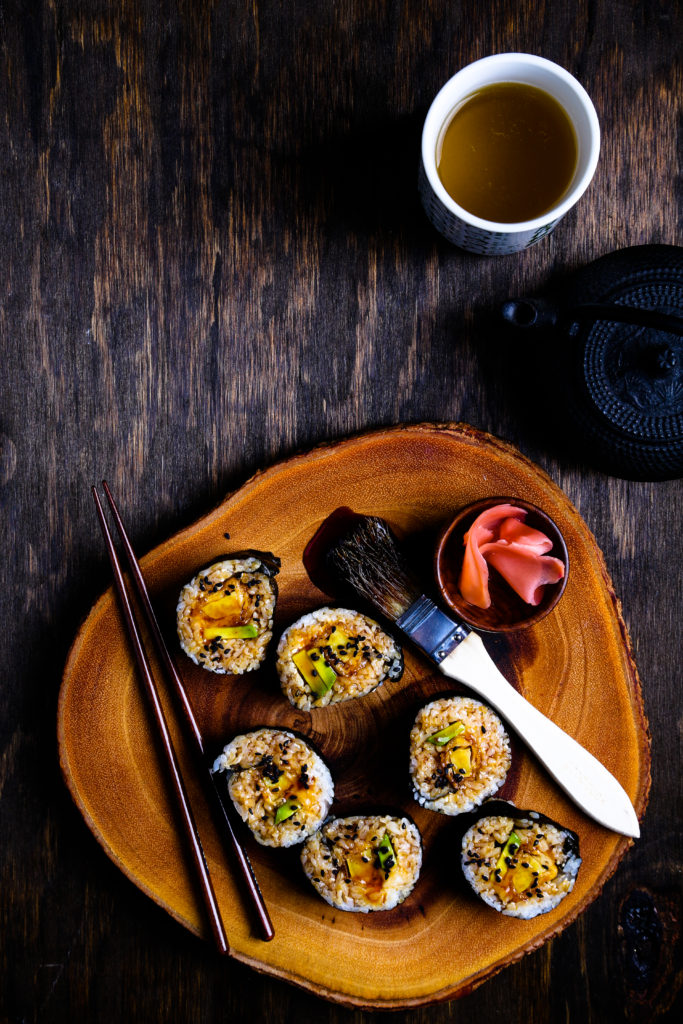 Sweet Potato Tempura and Avocado Rolls with Teriyaki Glaze