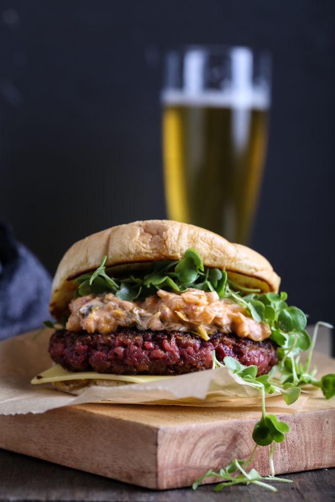 Farro + Beet Burgers