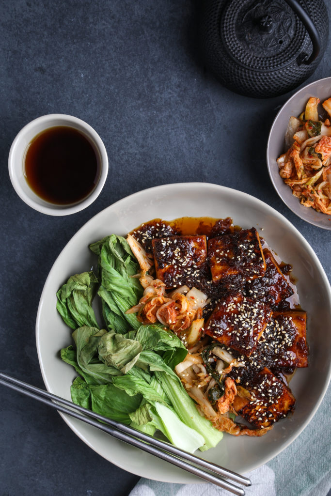 Sambal + Ginger Tofu with Air-Fried Bok Choy