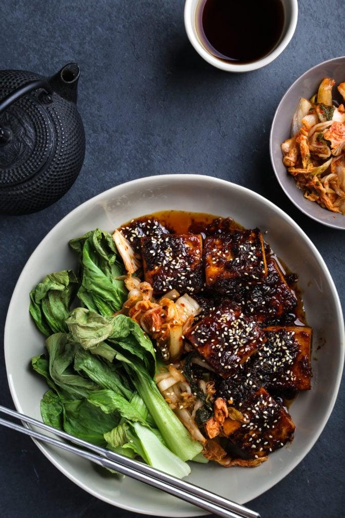 Sambal + Ginger Tofu with Air-Fried Bok Choy