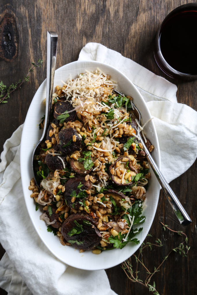 Toasted Farro with Roasted Shiitake, Shallots and Pine Nuts